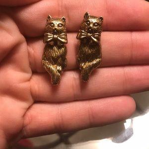 Avon Goldtone Kitty Cat Dangle Earrings 🐈